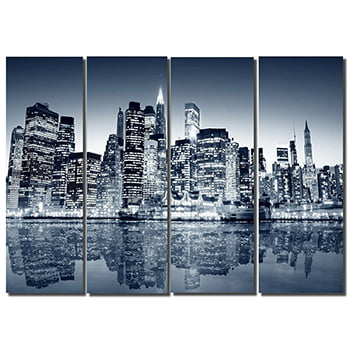 Tela Canvas Manhattan para sala de estar 4 peças