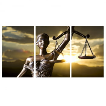 Conjunto 3 Telas em Canvas para Advocacia Deusa da Justiça
