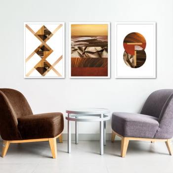 Conjunto de 3 Quadros Decorativos Corporativo Losango, Círculos e Paisagem - Geométricos