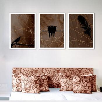 Conjunto de 3 Quadros Decorativos para Quarto Passaredo - Marrom - Geométricos