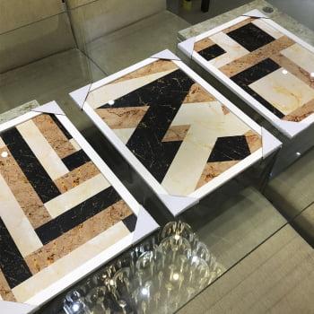 Conjunto de 3 Quadros Decorativos para Sala de Jantar Retângulos - Geométricos