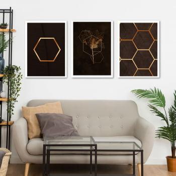Conjunto de 3 Quadros Decorativos para Sala Pentágono - Geométricos