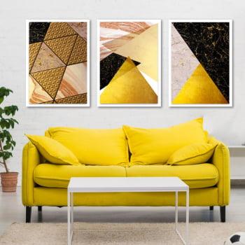 Conjunto de 3 Quadros Decorativos para Sala Triângulos - Tons Pasteis