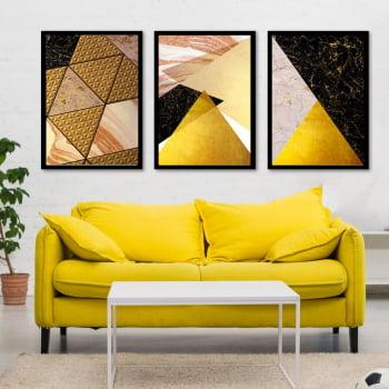Conjunto de 3 Quadros Decorativos para Sala Triângulos - Tons Pasteis - Geométricos