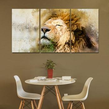 Conjunto de 3 Telas Decorativas Corporativo Leão de Juda Aquarela - Meu Pet