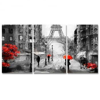 Conjunto de 3 Telas Decorativas em Canvas Corporativo Paris - Preto e Vermelho