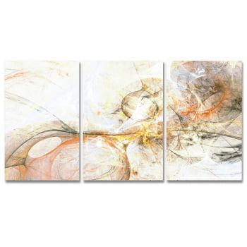 Conjunto de 3 Telas Decorativas em Canvas para Sala Abstrato - Nude