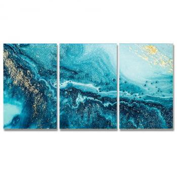 Conjunto de 3 Telas Decorativas em Canvas para Sala Corais Azul
