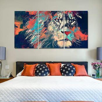 Conjunto de 3 Telas Decorativas para Quarto Leão Aquarela Moderno