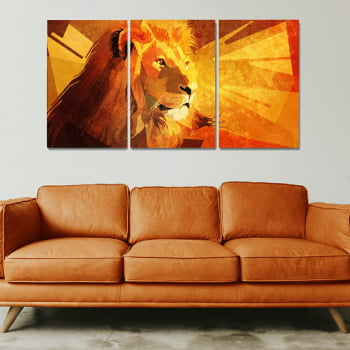 Conjunto de 3 Telas Decorativas para Sala de Estar Leão Geométrico Orange