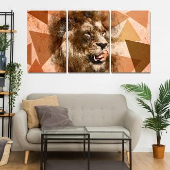 Conjunto de 3 Telas Decorativas para Sala Leão Aquarela Geométrico Orange