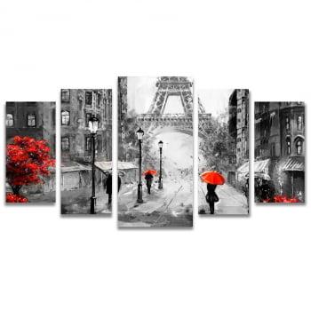 Conjunto de 5 Telas Decorativas em Canvas Corporativo Paris - Preto e Vermelho