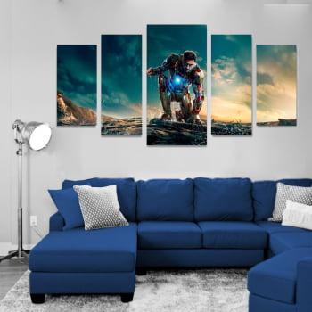Conjunto de 5 Telas Decorativas em Canvas para Sala Avengers Ultimato - Homem de Ferro - Filmes