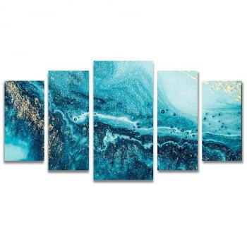 Conjunto de 5 Telas Decorativas em Canvas para Sala Corais Azuis