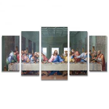 Conjunto de 5 Telas Decorativas em Canvas para Sala Santa Ceia