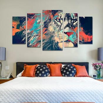 Conjunto de 5 Telas Decorativas para Quarto Leão Aquarela Moderno