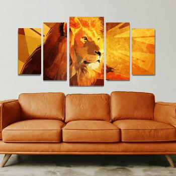 Conjunto de 5 Telas Decorativas para Sala de Estar Leão Geométrico Orange