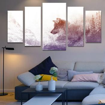 Conjunto de 5 Telas Decorativas para Sala de Estar Lobo nos Alpes Aquarela - Meu Pet
