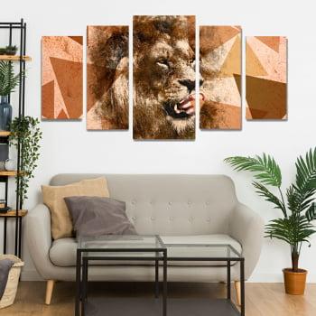 Conjunto de 5 Telas Decorativas para Sala Leão Aquerala Geométrico Orange - Meu Pet