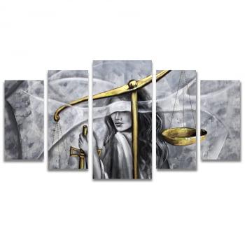 Quadro Canvas Deusa Themis Art Design para Escritório Advocacia 5 Telas