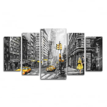 Conjunto Quadro Canvas New York