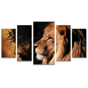 Quadro Canvas Paixão de Cristo Leão de Judá 5 Telas Sala - Religiosos