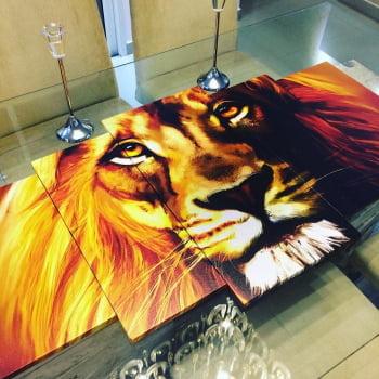 Tela Canvas Decorativa para Sala de Estar 5 Peças Leão Rei da Selva