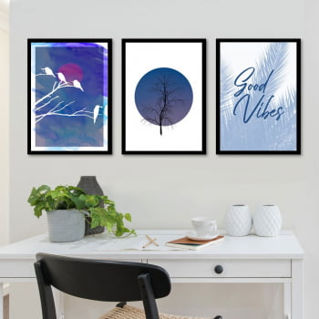 Conjunto de 3 Quadros Decorativos Corporativo Good Vibes - Azul