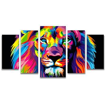 Quadro Canvas Leão de Judá Oficial Colorido 5 Telas