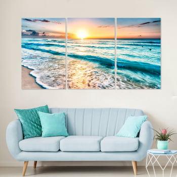 Conjunto de 3 Telas Decorativas Canvas para Sala Mar e Pôr do Sol IV - Praias