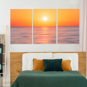 Conjunto de 3 Telas Decorativas Canvas para Sala Mar e Pôr do Sol - Praias