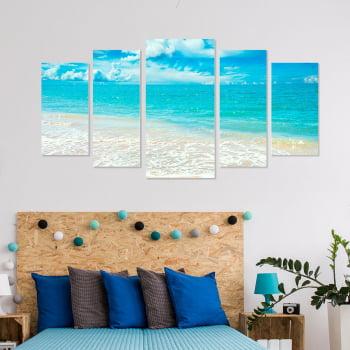 Conjunto de 5 Telas Decorativas Canvas para Quarto Casal Mar Azul - Praias