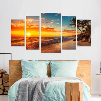 Conjunto de 5 Telas Decorativas Canvas para Quarto Pôr do Sol na Ilha - Praias