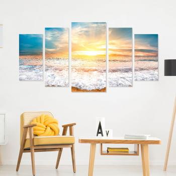 Conjunto de 5 Telas Decorativas Canvas para Sala Amanhecer - Praias