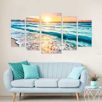 Conjunto de 5 Telas Decorativas Canvas para Sala Mar e Pôr do Sol IV - Praias