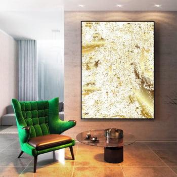 Tela em Canvas Abstrato Rutilo Dourado - Quadros Gigantes -