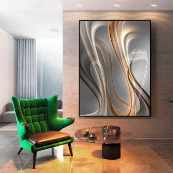 Tela em Canvas Abstrato Wave Aluminium - Quadros Gigantes