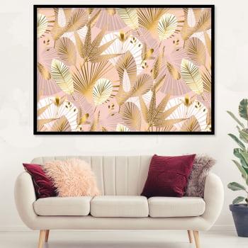 Quadro Decorativo para Sala Folhas - Rose Gold