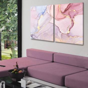 Conjunto de 2 Quadros Decorativos para Quarto Abstrato Rosê II - Linha Prime