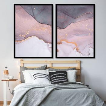 Conjunto de 2 Quadros Decorativos para Quarto Casal Abstrato Rosa Crepe - Rose Gold