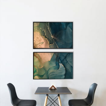 Conjunto de 2 Quadros Decorativos para Sala Abstrato Ágata Verde - Linha Prime