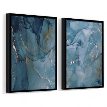 Conjunto de 2 Quadros Decorativos para Sala Abstrato Azul I - Linha Prime