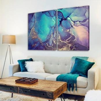 Conjunto de 2 Quadros Decorativos para Sala Abstrato Indigo - Linha Prime