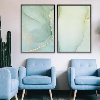 Conjunto de 2 Quadros Decorativos para Sala Abstrato Verde Claro I - Linha Prime
