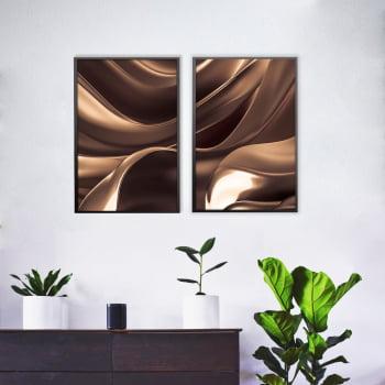Conjunto de 2 Quadros Decorativos para Sala Abstrato Wave IV - Linha Prime