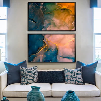 Conjunto de 2 Quadros Decorativos para Sala de Estar Abstrato Marmore Aquarela