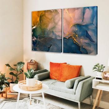 Conjunto de 2 Quadros Decorativos para Sala de Estar Abstrato Mármore Aquarela - Linha Prime