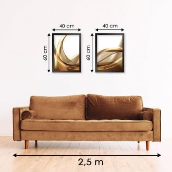 Conjunto de 2 Quadros Decorativos para Sala de Estar Wave Abstrato Dourado - Linha Prime