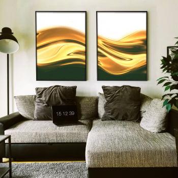 Conjunto de 2 Quadros Decorativos para Sala de Estar Abstrato Dunas Douradas