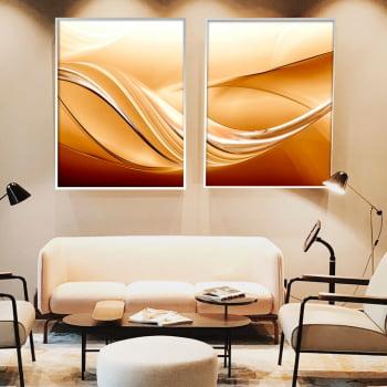 Conjunto de 2 Quadros Decorativos para Sala de Estar Abstrato Ondas Douradas - Linha Prime